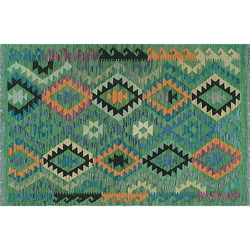 """3'4""""x4'11"""" Luzmila Kilim, Green/Blue"""