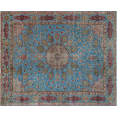 "10'x12'7"" Anda Overdyed Rug, Blue/Red"