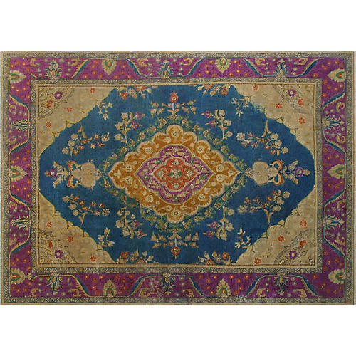 "8'2""x11' Ophelia Hand-Painted Rug, Blue/Purple"