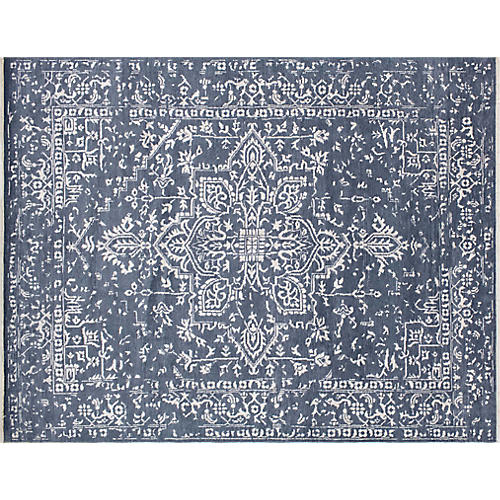 """8'3""""x10'7"""" Ashar Oushak Rug, Blue-Gray/Ivory"""