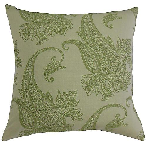 Damask Pillow, Green/Gray
