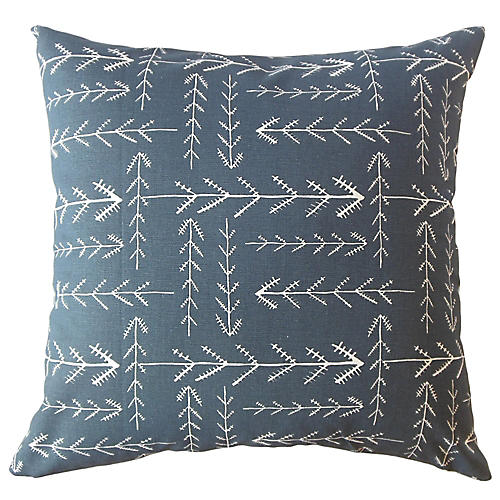Brynn Pillow, Indigo/White