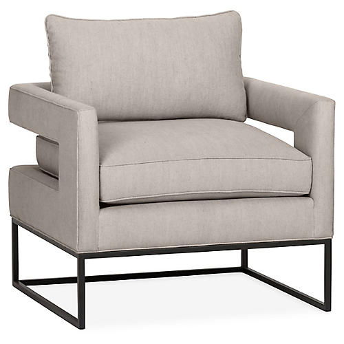Bevin Accent Chair, Gray Linen