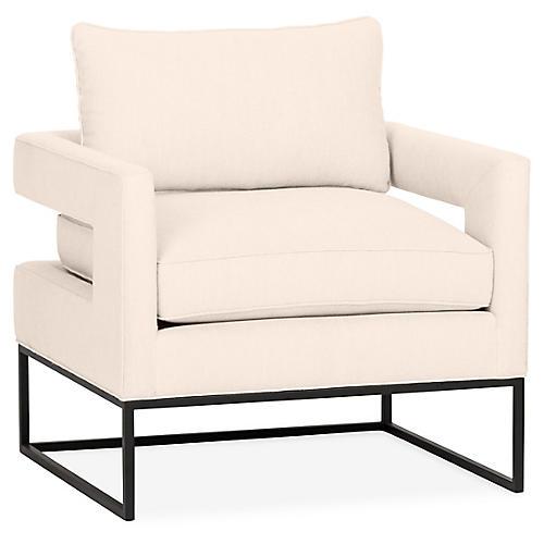 Bevin Accent Chair, Bisque Linen