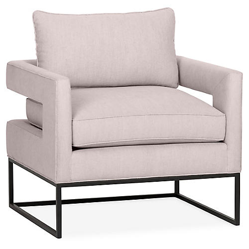 Bevin Accent Chair, Lilac Linen