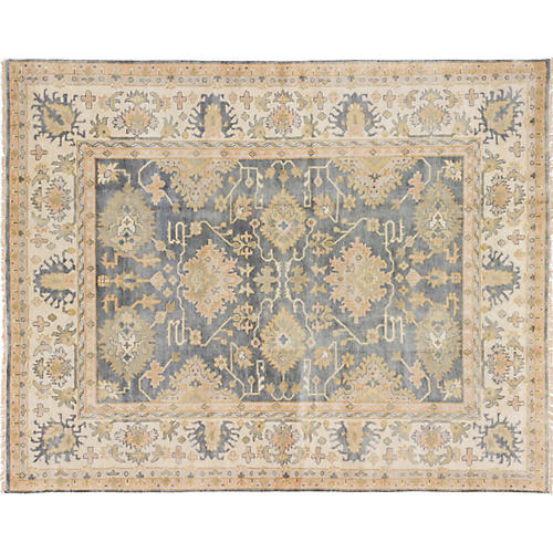 "7'8""x9'10"" Royal Oushak Hand-Knotted Rug, Smoke"