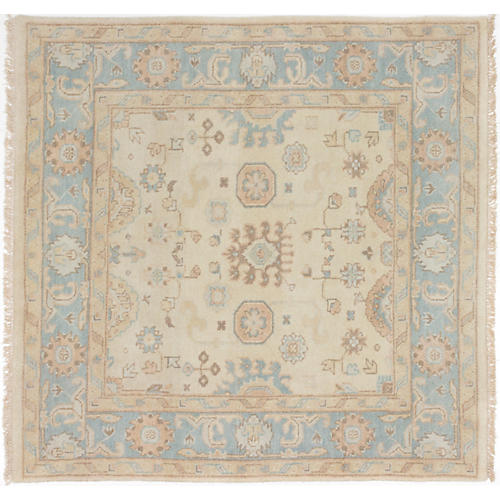 "4'11""x5' Royal Oushak Hand-Knotted Rug, Cream"