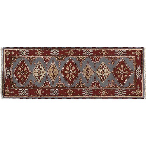"2'7""x8'2"" Royal Kazak Runner, Gray/Red"