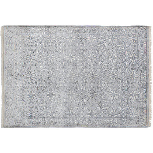 """4'x5'10"""" Jules Oushak Hand-Knotted Rug, Mist"""