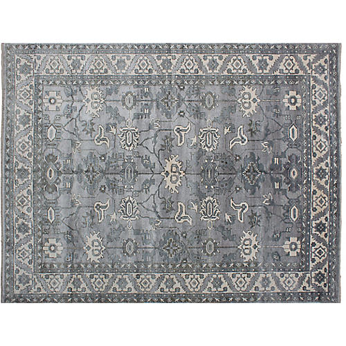 """9'1""""x11'11"""" Jules Oushak Hand-Knotted Rug, Gray"""