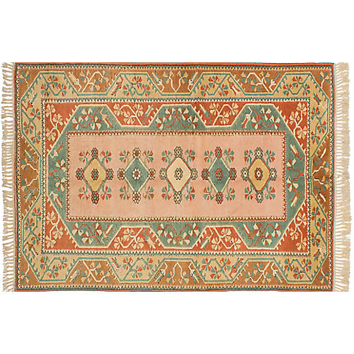 "5'4""x7'10"" Oushak Hand-Knotted Rug, Copper/Teal"