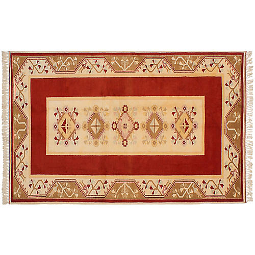 "5'2""x8'2"" Oushak Hand-Knotted Rug, Cream/Red"