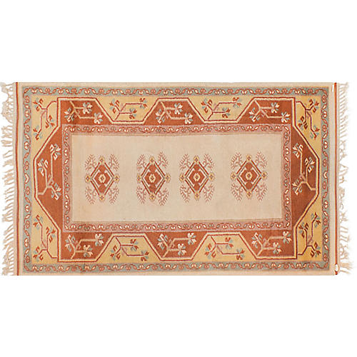 """3'x5'5"""" Oushak Hand-Knotted Rug, Cream"""