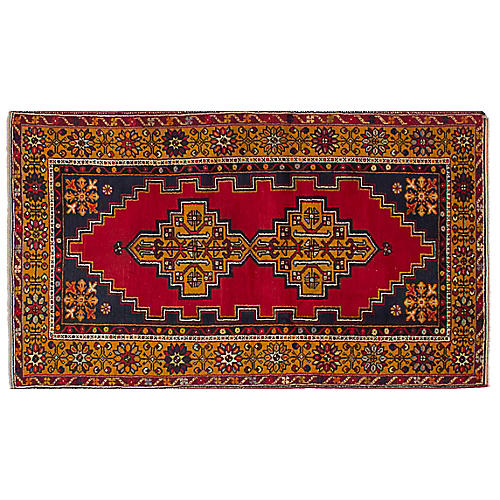 "3'9""x6'10"" Anatolian Rug, Red/Navy"