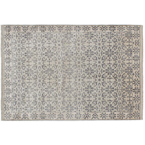 """3'11""""x5'11"""" Jules Oushak Hand-Knotted Rug, Ash"""