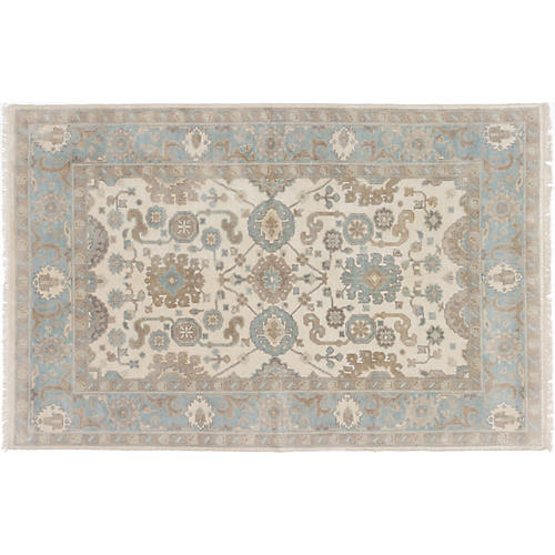 "5'8""x8'8"" Royal Oushak Hand-Knotted Rug, Bone"