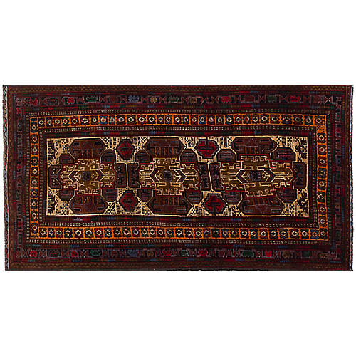 "3'7""x6'8"" Royal Baluch Rug, Cream"