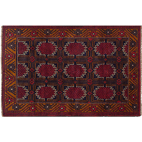 "3'7""x5'8"" Bahor Rug, Dark Navy/Red"