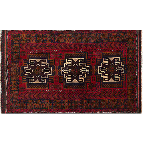 """3'8""""x6'8"""" Kazak Rug, Multi/Red"""