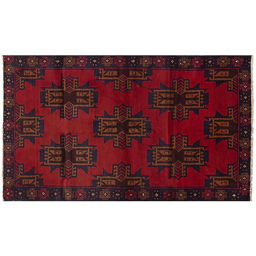 "3'8""x6'5"" Bahor Rug, Red/Navy"