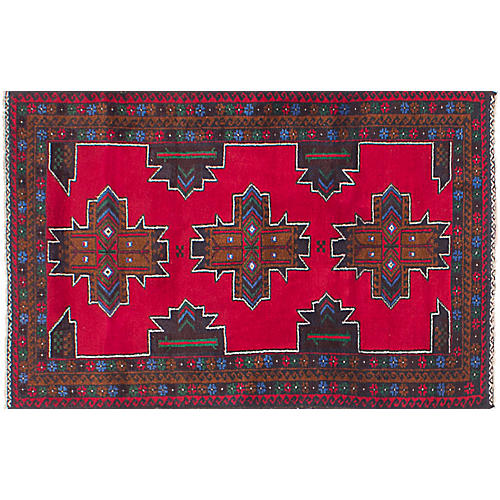 "2'10""x4'8"" Royal Baluch Rug, Red"
