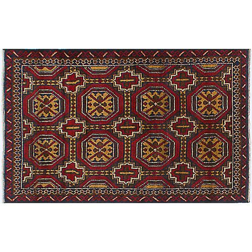 """3'x4'11"""" Royal Baluch Rug, Red/Tan"""