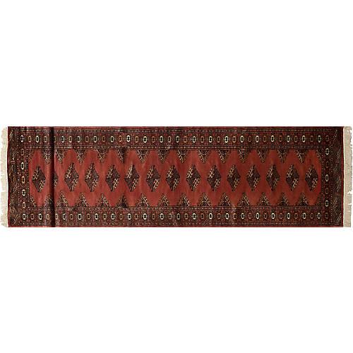 "2'7""x12' Finest Peshawar Bokhara Rug, Dark Copper"