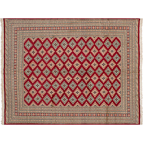 """8'2""""x10'8"""" Peshawar Bokhara Hand-Knotted Rug, Red"""