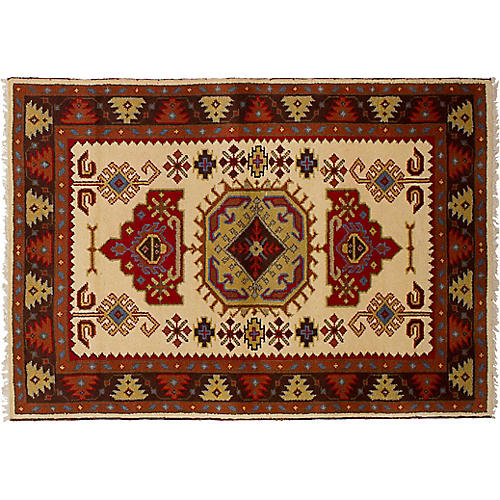 "4'2""x6'1"" Royal Kazak Rug, Cream/Red"