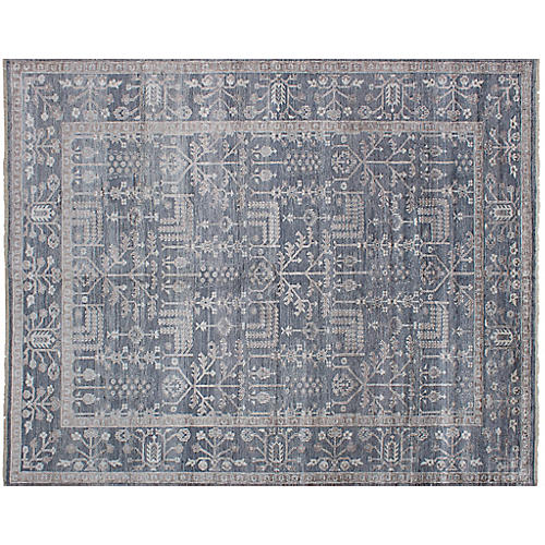 "9'1""x11'6"" Jules Oushak Hand-Knotted Rug, Denim"