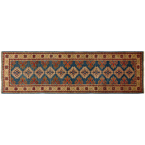 "2'9""x9'7"" Finest Gazni Runner, Navy/Red"