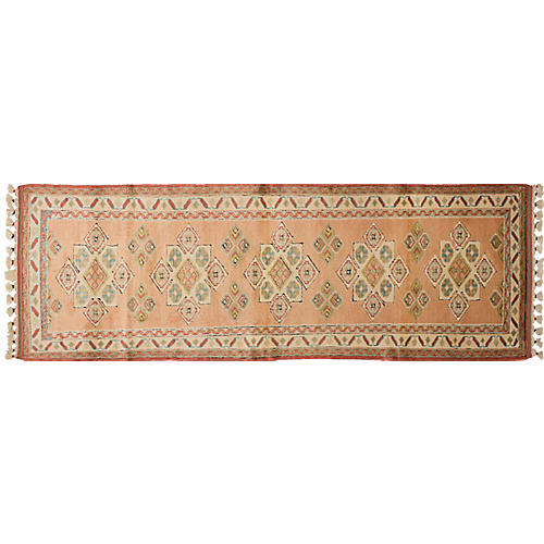 "3'1""x10'6"" Shiravan Hand-Knotted Runner, Salmon"
