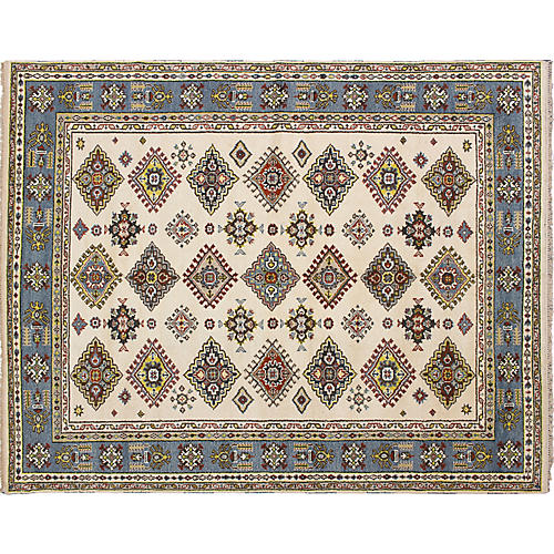 "8'x9'11"" Royal Kazak Rug, Cream"