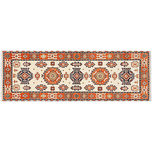 "2'10""x8'3"" Royal Kazak Runner, Cream/Orange"