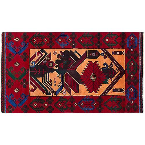 "2'9""x5'1"" Royal Baluch Rug, Multi/Red"