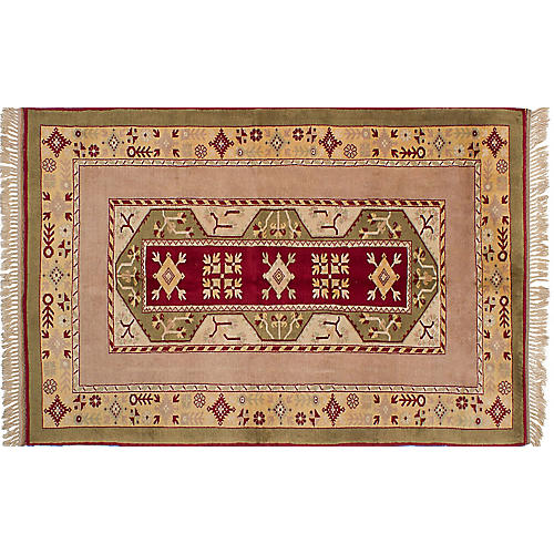 "5'3""x8'4"" Oushak Hand-Knotted Rug, Ruby/Tan"