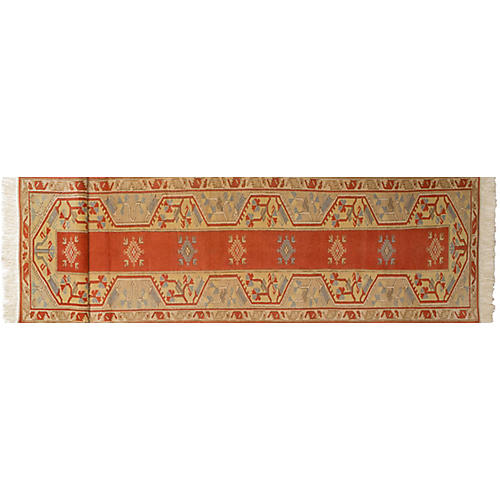 """2'10""""x16' Oushak Hand-Knotted Runner, Red"""