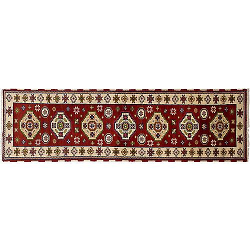 "2'7""x9'8"" Royal Kazak Rug, Dark Red"