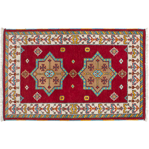 3'x5' Royal Kazak Rug, Bright Red