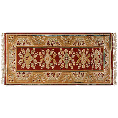 """2'9""""x6' Oushak Hand-Knotted Runner, Red"""