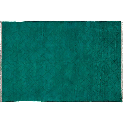 """6'3""""x9'1"""" Vibrance Hand-Knotted Rug, Teal"""