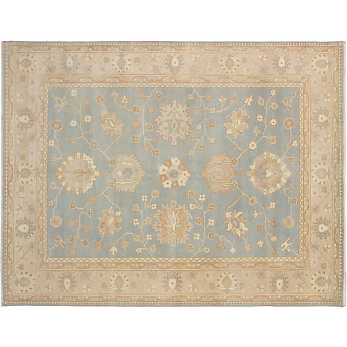 "9'2""x11'11"" Elysee Finest Oushak Rug, Light Blue"