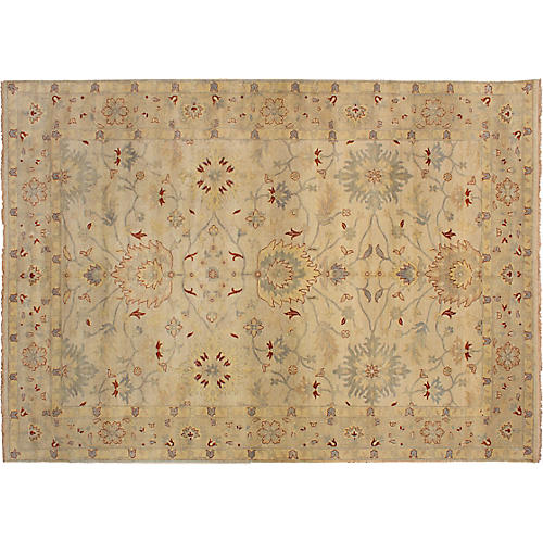"""9'10""""x13'9"""" Royal Oushak Hand-Knotted Rug, Cream"""
