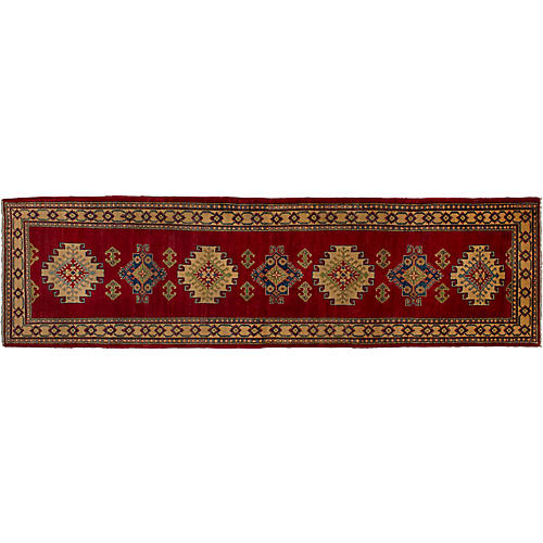 Gazni Hand-Knotted Runner, Ruby