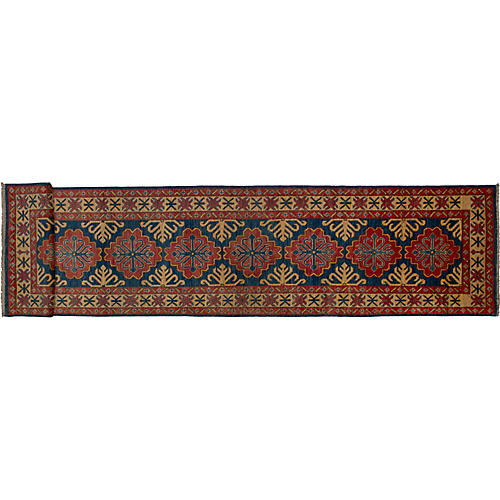 """2'4""""x11'7"""" Gazni Hand-Knotted Runner, Coral/Multi"""
