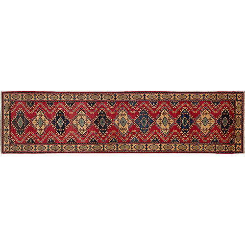 """2'6""""x10'2"""" Gazni Hand-Knotted Runner, Red"""