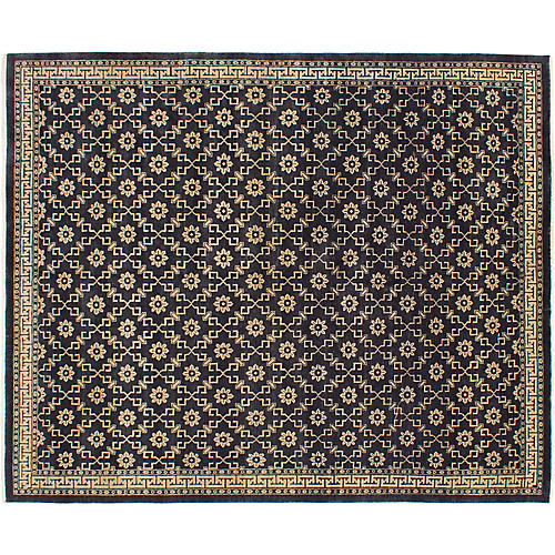 "7'7""x9'3"" Elysee Hand-Knotted Rug, Charcoal"