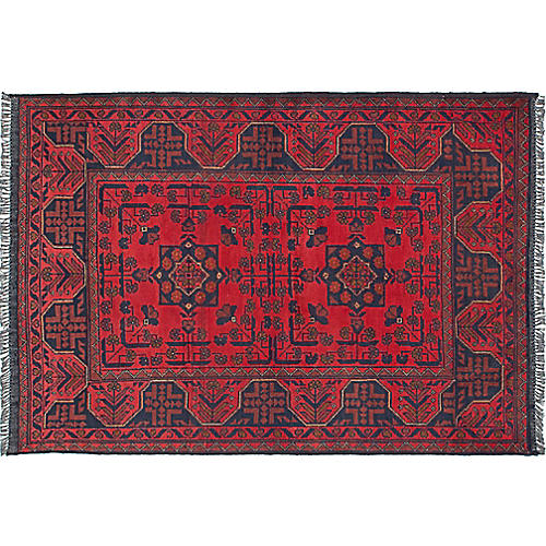 "3'4""x4'8"" Finest Khal Mohammadi Rug, Red/Blue"