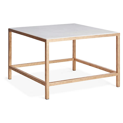 Egan Square Coffee Table, Gold/White Marble