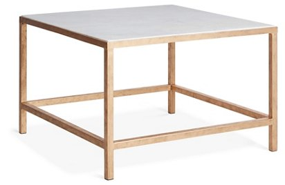Egan Square Coffee Table Gold White Marble